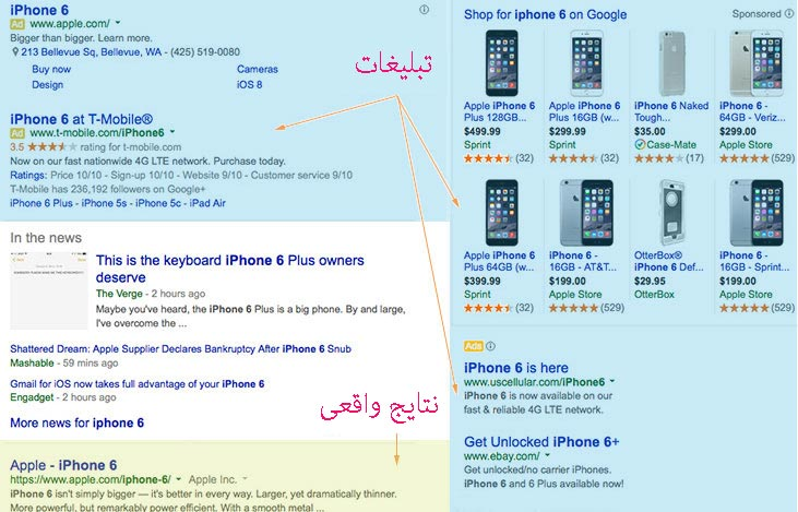 نتایج مختلف گوگل